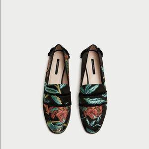 Zara Frayed Floral Jacquard Loafers